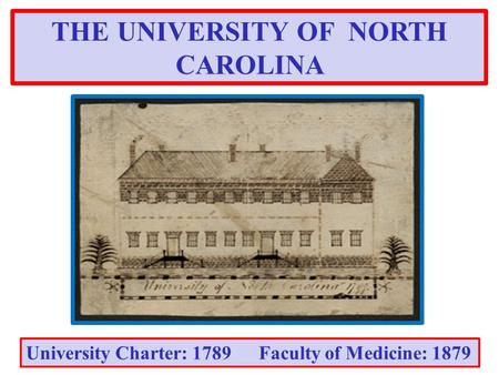 THE UNIVERSITY OF NORTH CAROLINA University Charter: 1789 Faculty of Medicine: 1879.