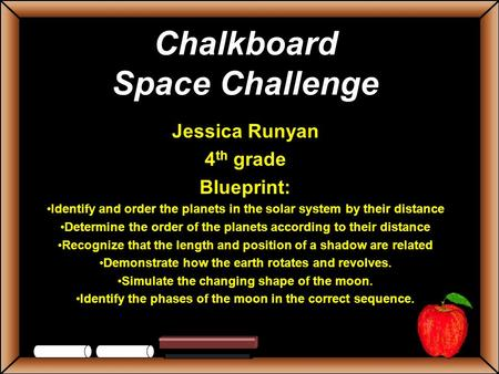 Chalkboard Space Challenge Jessica Runyan 4 th grade Blueprint: Identify and order the planets in the solar system by their distance Determine the order.