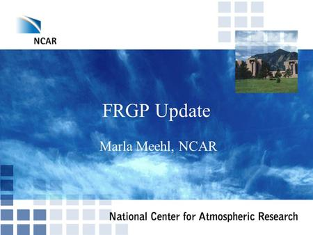 FRGP Update Marla Meehl, NCAR. Review and update topic list Summit Western Region Networking (WRN) Stimulus Internet2 Membership Model.