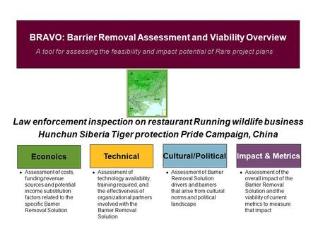 A tool for assessing the feasibility and impact potential of Rare project plans BRAVO: <strong>Barrier</strong> Removal Assessment and Viability Overview Econoics Technical.
