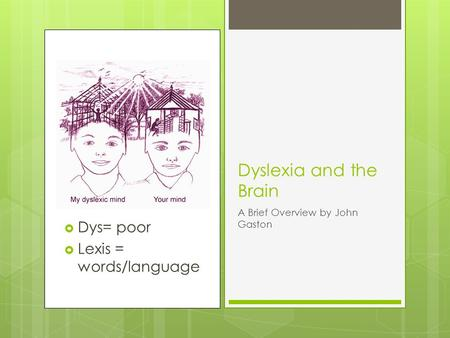  Dys= poor  Lexis = words/language Dyslexia and the Brain A Brief Overview by John Gaston.