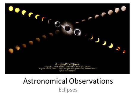 Astronomical Observations Eclipses. Information About Eclipses Definition Schedule Terms Reasons.