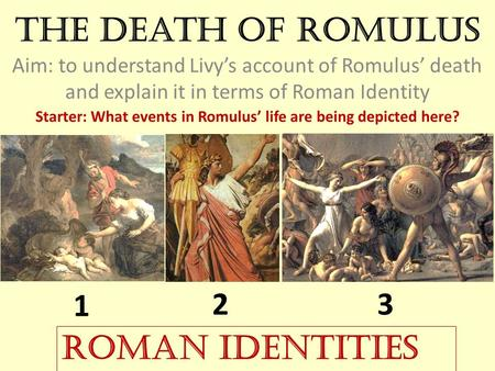 Starter: What events in Romulus' life are being depicted here?