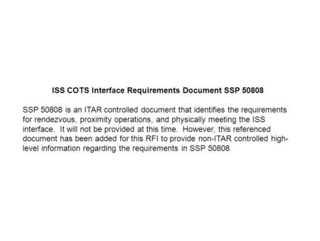 ISS COTS Interface Requirements Document SSP 50808