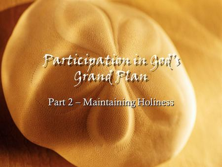 Participation in God's Grand Plan Part 2 – Maintaining Holiness.