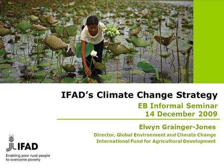 IFAD's Climate Change Strategy EB Informal Seminar 14 December 2009 Elwyn Grainger-Jones Director, Global Environment and Climate Change International.