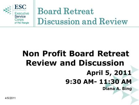 Board Retreat Discussion and Review Non Profit Board Retreat Review and Discussion April 5, 2011 9:30 AM- 11:30 AM Diana A. Bing 4/5/2011.