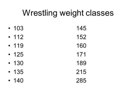Wrestling weight classes 103145 112152 119160 125171 130189 135215 140285.