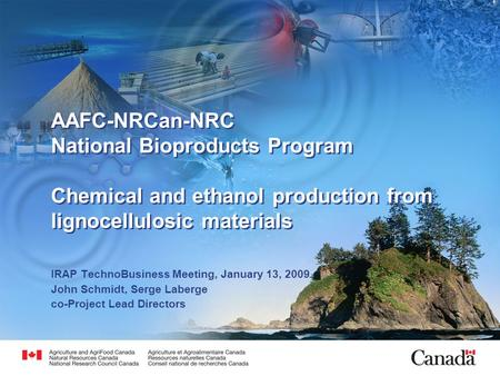 AAFC-NRCan-NRC National Bioproducts Program Chemical and ethanol production from lignocellulosic materials IRAP TechnoBusiness Meeting, January 13, 2009.
