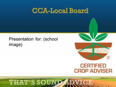THAT'S SOUND ADVICE Presentation for: (school image) CCA-Local Board.
