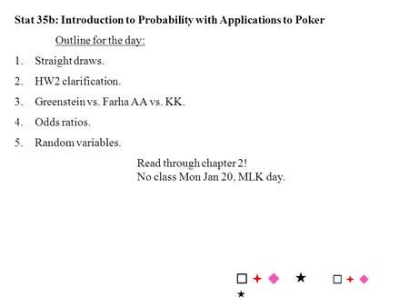 Stat 35b: Introduction to Probability with Applications to Poker Outline for the day: 1.Straight draws. 2.HW2 clarification. 3.Greenstein vs. Farha AA.
