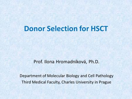 Donor Selection for HSCT