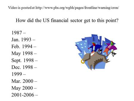How did the US financial sector get to this point? 1987 – Jan. 1993 – Feb. 1994 – May 1998 – Sept. 1998 – Dec. 1998 – 1999 – Mar. 2000 – May 2000 – 2001-2006.