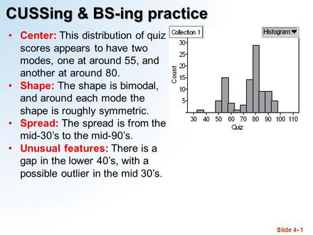 Slide 4- 1 CUSSing & BS-ing practice Center: This distribution of quiz scores appears to have two modes, one at around 55, and another at around 80. Shape: