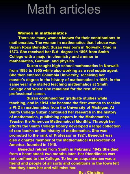 womens contributions to mathematics essay