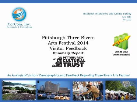 Pittsburgh Three Rivers Arts Festival 2014 Visitor Feedback Summary Report Intercept Interviews and Online Survey June 2014 N= 1,002 An Analysis of Visitors'