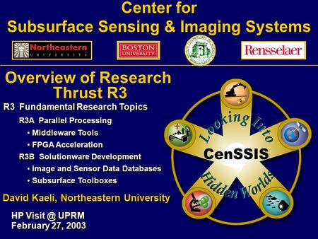Center for Subsurface Sensing & Imaging Systems HP UPRM February 27, 2003 Overview of Research Thrust R3 R3 Fundamental Research Topics R3A Parallel.