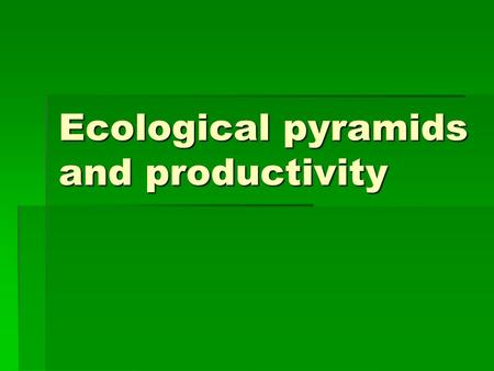 Ecological pyramids and productivity. Activities  Complete first and second page of Zoo assignment  Complete food chain and food web sheet.