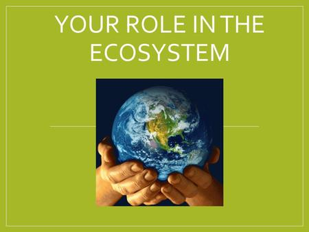 YOUR ROLE IN THE ECOSYSTEM. All life on Earth is interconnected. All life interacts with the nonliving environment.