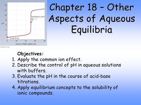 Chapter 18 – Other Aspects of Aqueous Equilibria Objectives: 1.Apply the common ion effect. 2.Describe the control of pH in aqueous solutions with buffers.