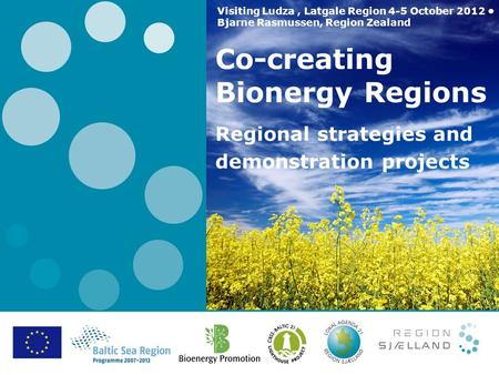 Co-creating Bionergy Regions Regional strategies and demonstration projects Visiting Ludza, Latgale Region 4-5 October 2012 Bjarne Rasmussen, Region Zealand.