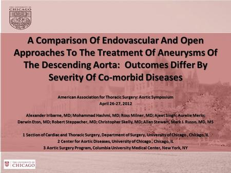A Comparison Of Endovascular And Open Approaches To The Treatment Of Aneurysms Of The Descending Aorta: Outcomes Differ By Severity Of Co-morbid Diseases.