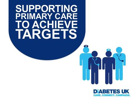 SUPPORTING PRIMARY CARE TO ACHIEVE TARGETS. What targets? 1.9 care processes 2.3 health targets (HbA1c, blood pressure, cholesterol) AND IMPORTANTLY Quality.