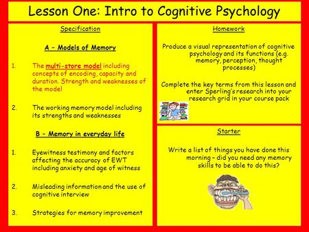 Lesson One: Intro to Cognitive Psychology Specification A – Models of Memory 1.The multi-store model including concepts of encoding, capacity and duration.