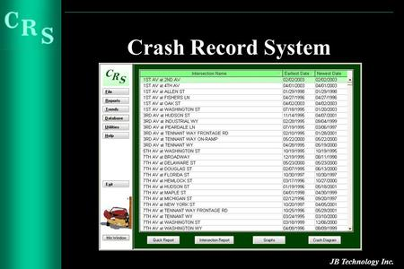 Crash Record System JB Technology Inc.. Introduction Crash Record System (CRS) was designed specifically for the State of Washington and was developed.