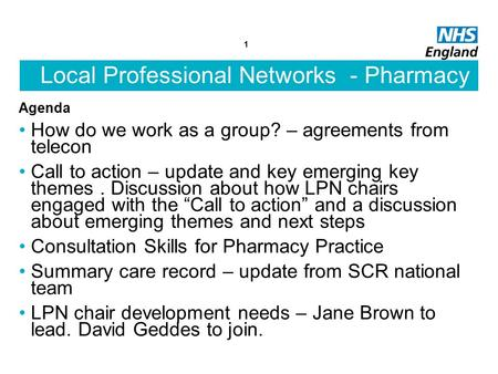 Local Professional Networks - Pharmacy Agenda How do we work as a group? – agreements from telecon Call to action – update and key emerging key themes.