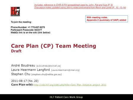 Care Plan (CP) Team Meeting Draft