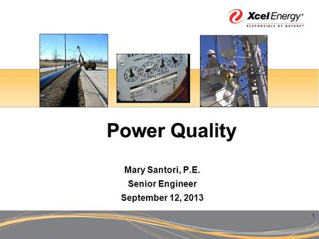 1 Power Quality Mary Santori, P.E. Senior Engineer September 12, 2013.