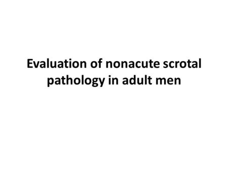 Evaluation of nonacute scrotal pathology in adult men