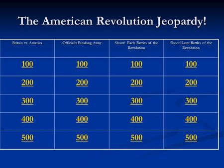 The American Revolution Jeopardy!