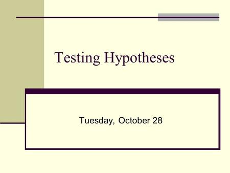 Testing Hypotheses Tuesday, October 28. Objectives: Understand the logic of hypothesis testing and following related concepts Sidedness of a test (left-,
