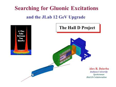 Introduction Alex R. Dzierba Indiana University Spokesman Hall D Collaboration Searching for Gluonic Excitations and the JLab 12 GeV Upgrade The Hall D.