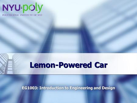 Lemon-Powered Car. Overview Experimental Objective Background Information Materials Procedure Assignment Conclusion.