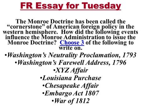 The Monroe Doctrine Essay