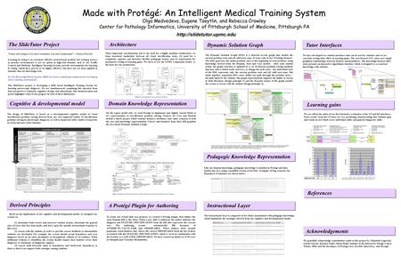 Made with Protégé: An Intelligent Medical Training System Olga Medvedeva, Eugene Tseytlin, and Rebecca Crowley Center for Pathology Informatics, University.