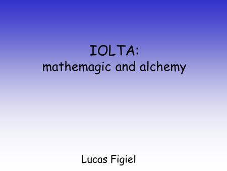 "IOLTA: mathemagic and alchemy Lucas Figiel. ""Positive Net Return"" interest paid on the account less –maintenance costs –the costs of accounting for the."