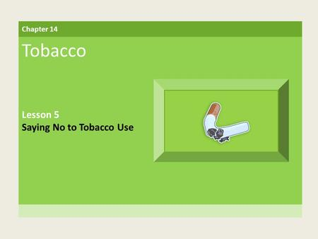 Chapter 14 Tobacco Lesson 5 Saying No to Tobacco Use.