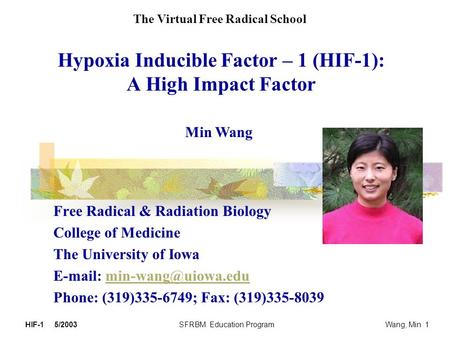 Hypoxia Inducible Factor – 1 (HIF-1): A High Impact Factor Free Radical & Radiation Biology College of Medicine The University of Iowa