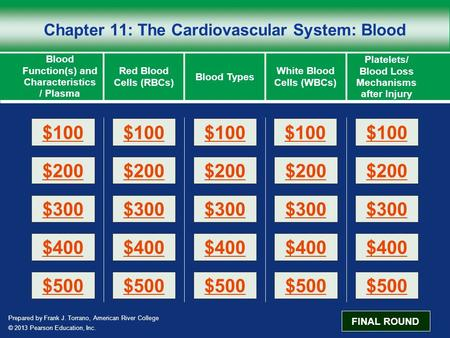 Prepared by Frank J. Torrano, American River College © 2013 Pearson Education, Inc. Chapter 11: The Cardiovascular System: Blood Blood Function(s) and.