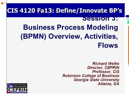 © Richard Welke 2002 CIS 4120 Fa13: Define/Innovate BP's Richard Welke Director, CEPRIN Professor, CIS Robinson College of Business Georgia State University.