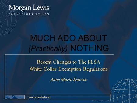 MUCH ADO ABOUT (Practically) NOTHING Recent Changes to The FLSA White Collar Exemption Regulations Anne Marie Estevez.