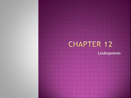 Chapter 12 Leukopoiesis.