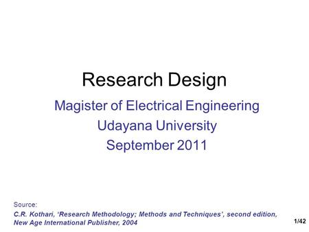 Magister of Electrical Engineering Udayana University September 2011