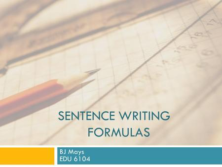 Sentence writing Formulas
