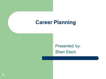 1 Career Planning Presented by: Sheri Eisch. 2 Holland Theory People can be classified into 6 different groups Groups are called Occupational Themes: