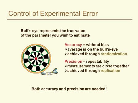 Control of Experimental Error Accuracy = without bias  average is on the bull's-eye  achieved through randomization Precision = repeatability  measurements.